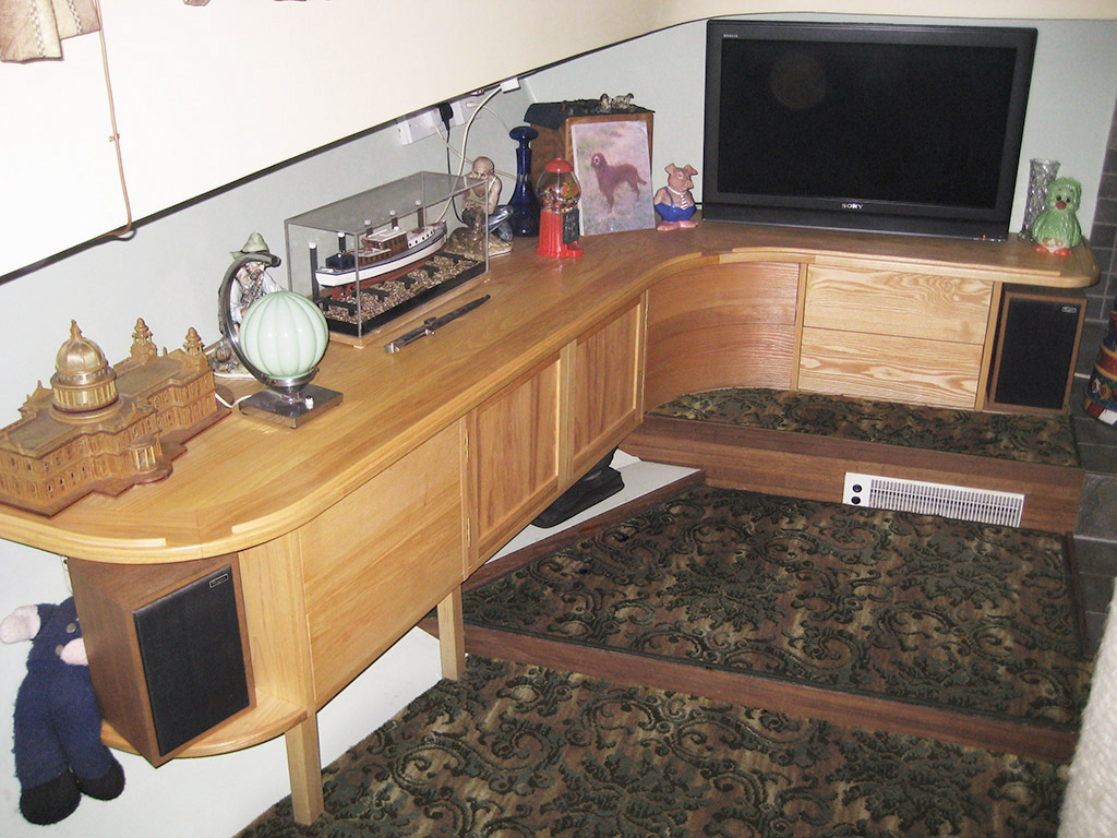 Home entertainment unit on a boat.